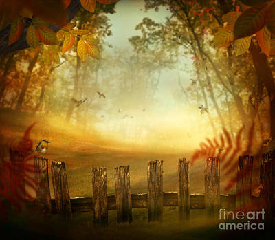 Mythja Digital Art - Autumn Design - Forest With Wood Fence by Mythja  Photography