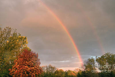 Photograph - Autumn Double Rainbow 2 by Deborah Smolinske
