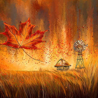 Maple Leaf Art Painting - Autumn Dreams- Autumn Impressionism Paintings by Lourry Legarde