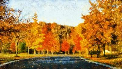 Drive-ins Painting - Autumn Drive In Lima Ohio by Dan Sproul