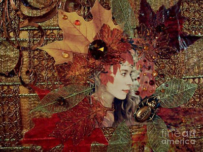 Brass Leafs Digital Art - Autumn Dryad Collage by Maureen Tillman