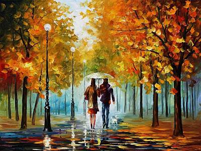 Autumn Elegy - Palette Knife Oil Painting On Canvas By Leonid Afremov Original by Leonid Afremov