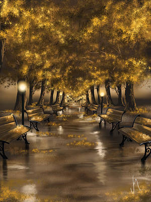 Park Scene Painting - Autumn Evening by Veronica Minozzi