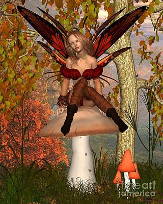 Woodlands Scene Digital Art - Autumn Fairy Sitting On A Toadstool by Fairy Fantasies