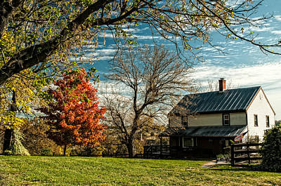 Country Scene Photograph - Autumn Farm House by Lara Ellis