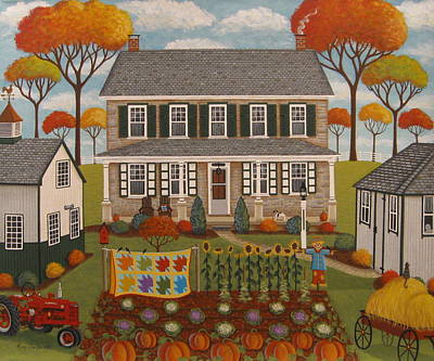 Autumn Farmhouse Art Print by Mary Charles