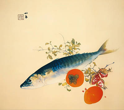 On Silk Painting - Autumn Fattens Fish And Ripens Wild Fruits by Mountain Dreams