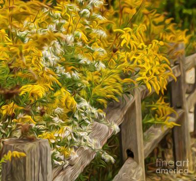 Split Rail Fence Digital Art - Autumn Fence by Brian Mollenkopf