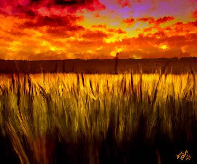 Autumn Field At Sunset Art Print