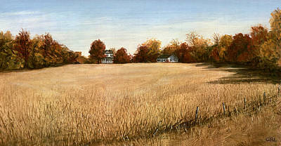 Art Print featuring the painting Autumn Field Southern Maryland by G Linsenmayer