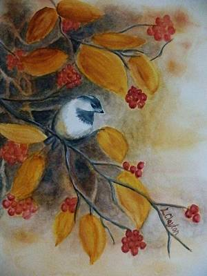 Burnt Umber Painting - Autumn Finch by Lynette Clayton