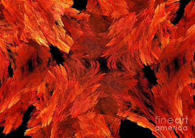 Digital Art - Autumn Fire Abstract by Andee Design