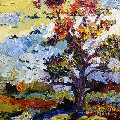 Painting - Autumn Fire Leaves Turning Red Oil Painting by Ginette Callaway