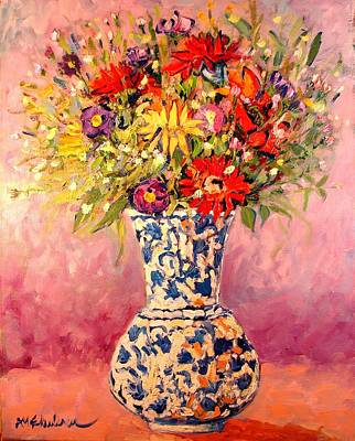 Art Print featuring the painting Autumn Flowers by Ana Maria Edulescu