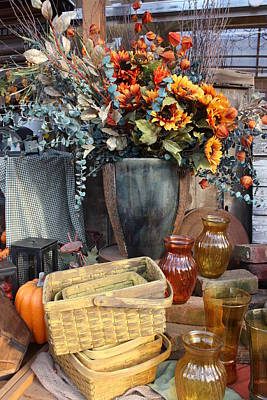 Autumn Flowers And Baskets Art Print by Patrice Zinck