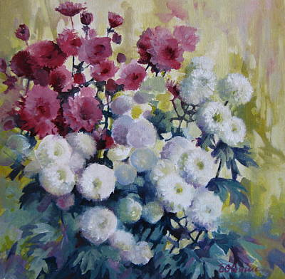 Mums Painting - Autumn Flowers -chrysanthemums by Elena Oleniuc