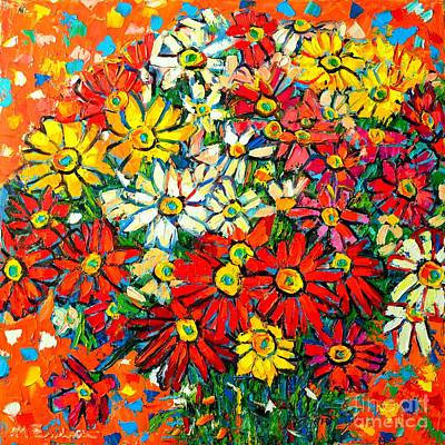 Autumn Flowers Colorful Daisies  Art Print by Ana Maria Edulescu