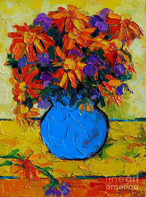 Pottery Painting - Autumn Flowers by Mona Edulesco