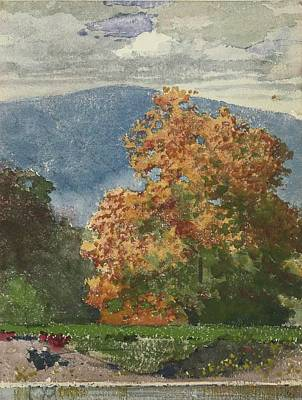 Landscape Mountain Trees Fisherman Painting - Autumn Foliage With Two Youths Fishing by