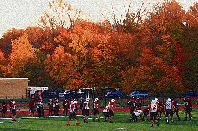 Photograph - Autumn Football With Sponge Painting Effect by Frank Romeo