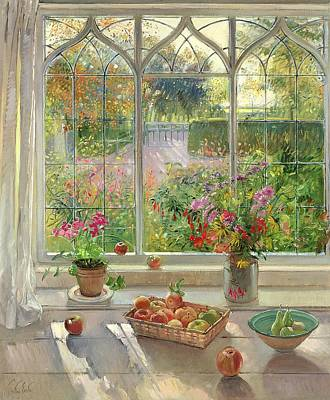 Window Ledge Photograph - Autumn Fruit And Flowers, 2001 Oil On Canvas by Timothy Easton