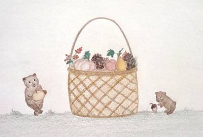 Drawing - Autumn Fruit Basket And Bears by Christine Corretti