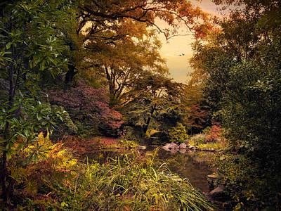 Earth Digital Art - Autumn Garden Sunset by Jessica Jenney