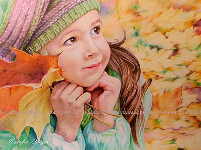 Drawing - Autumn Girl by Natasha Denger