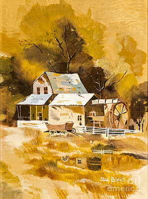 Water Wheel Painting - Autumn Gold By Stan Bialick by Sheldon Kralstein