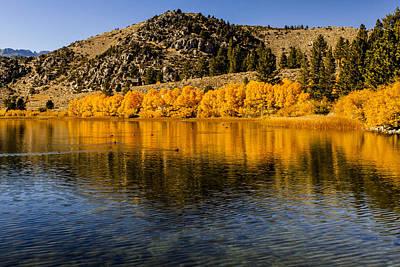 Claude Monet - Autumn Golden Foliage on Mountain Lake Reflection Fine Art Photography Print by Jerry Cowart