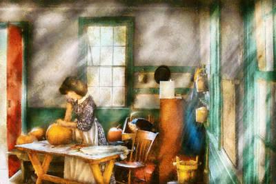 Autumn - Halloween - Carving A Pumpkin Art Print by Mike Savad