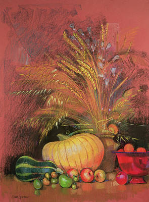 Picking Apples Painting - Autumn Harvest by Claire Spencer