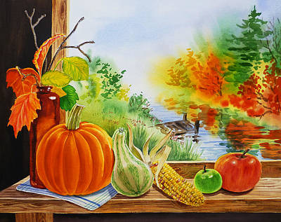 Window Bench Painting - Autumn Harvest Fall Delight by Irina Sztukowski