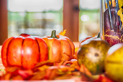 Photograph - Autumn Harvest With Pumpkins On Table by Alex Grichenko