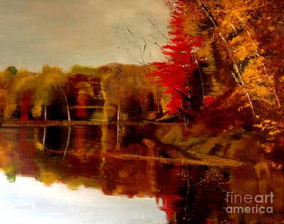Fall Trees Reflected On Lake Art Print