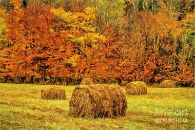 Wildlife Landscape Painting - Autumn Hay by Deborah Benoit