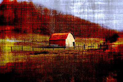 Rusty Tin Roof Photograph - Autumn Homestead by Chastity Hoff