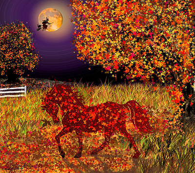 Animals Paintings - Autumn Horse Bewitched by Michele Avanti
