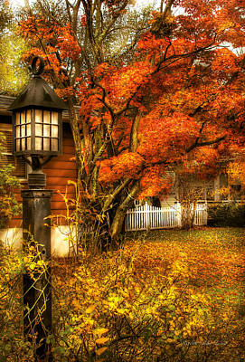 Autumn - House - Autumn Light Art Print by Mike Savad