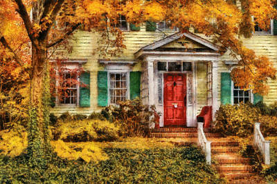 Digital Art - Autumn - House - Local Suburbia by Mike Savad