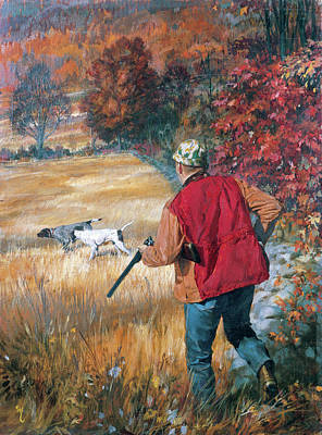 Photograph - Autumn Hunters With His Dogs, An Upland by Stanley Meltzoff / Silverfish Press