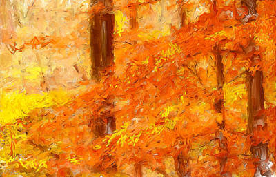 Red Abstract Digital Art - Autumn Impressions by Lourry Legarde