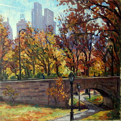 Painting - Autumn In Central Park Nyc.  by Thor Wickstrom