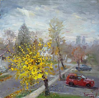Drive In Painting - Autumn In Mississauga  by Ylli Haruni