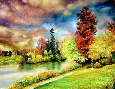 Art Print featuring the painting Autumn In Park by Sorin Apostolescu