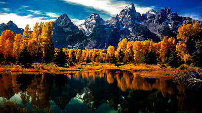 Painting - Autumn In The Grand Tetons by Bob and Nadine Johnston