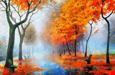 Autumn In The Morning Mist Art Print