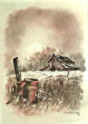Old Barn Drawing - Autumn In View At Mac Gregors Barn by Carol Wisniewski