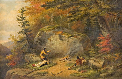 Art Print featuring the painting Autumn In West Canada Chippeway Indians by Cornelius Krieghoff