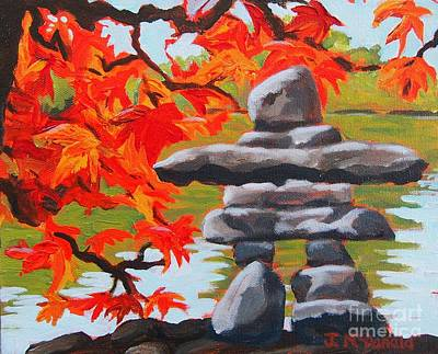 Painting - Autumn Inukshuk by Janet McDonald